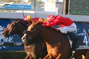 Malaguerra (inside) pipped Dothraki on the line to win Saturday's Group 1 BTC Cup at Doomben. Photo: Daniel Costello