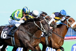 Lucia Valentina (outside) wins the 2014 Turnbull Stakes