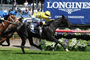 Side Glance has won the 2013 Mackinnon Stakes on Flemington's Derby Day.