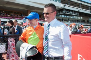 Joseph Pride (right) celebrated his win at Canterbury Park on Wednesday with promising sprinter Craftiness.