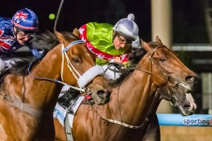 Richie's Vibe flew home late to record a narrow win over Moment Of Change in the Australia Stakes at Moonee Valley on January 24.