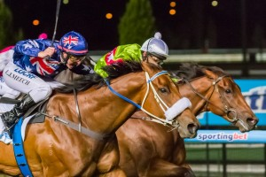 Richie's Vibe (inside) and Moment of Change (outside) will face a re-match in the Australia Stakes at Moonee Valley on Saturday.