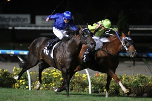 Flamberge and Holler fought out the finish in the 2016 William Reid Stakes at Moonee Valley on Friday night. Photo by: Ultimate Racing Photos