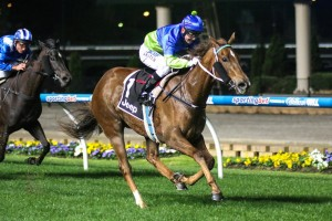 Eloping wins the 2014 Champagne Stakes at Moonee Valley
