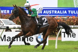 Jon Snow, above, scores an impressive win in the Tulloch Stakes at Rosehill. Photo by Steve Hart.