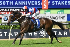 Property, above, scores a comfortable win in the Kindergarten Stakes at Randwick. Photo by Steve Hart.