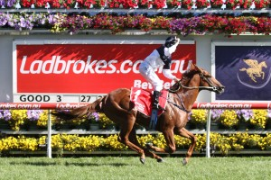 Extreme Choice blitzed the field in the 2016 Ladbrokes Blue Diamond Stakes at Caulfield