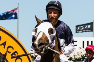 Damien Oliver partnered Hardham to third in the Group 3 Vain Stakes over the weekend. Photo: Race Horse Photos Australia