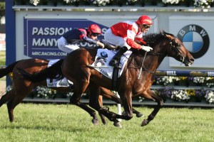 Mongolian Khan scores a clear cut win over Trip To Paris in the Caulfield Cup at Caufield. Photo by Ultimate Racing Photos.