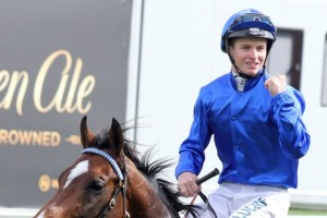 James McDonald, above, will ride the favourite, Yucatan, in the 22018 Melbourne Cup at Flemington. Photo by Race Horse Photos Australia.