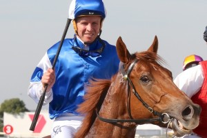 Kerrin McEvoy, above, was aboard Zousain in the Champagne Classic win at Doomben. Photo by Daniel Costello.