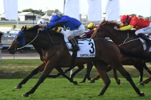 Capital Gain flew home late to take out the JJ Atkins at Doomben this afternoon. Photo by: Steve Hart