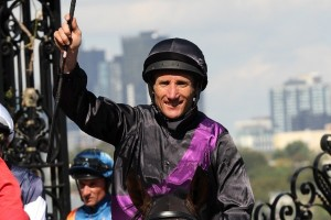 Champion jockey Damien Oliver has been confirmed to take the ride on Mutual Regard in the 2014 Melbourne Cup. Photo: Race Horse Photos Australia