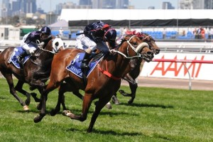 Not Listenin'tome, runner up in the Coolmore Stud Stakes (pictured), may wear blinkers in the Manikato Stakes.