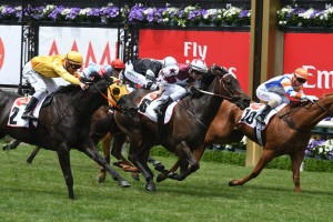 Lyuba won a thrilling edition of the Skip Sprint at Flemington this afternoon. Photo by: Steve Hart