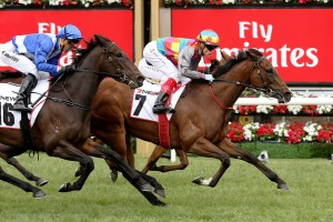 Jessy Belle beats Sort After in the Matriarch Stakes at Flemington. Photo by Steve Hart.