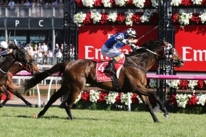 Tosen Stardom stormed home in the final stages of the Emirates Stakes to claim a second Group 1 win. Photo by: Ultimate Racing Photos