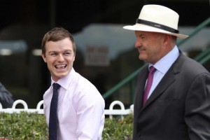 Trainer Ben Hayes, left, will set Crosshaven for the Caulfield Guineas at Caulfield. Photo by Ultimate Racing Photos.