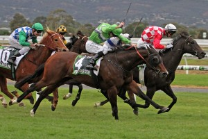 Precious Gem won a very exciting edition of the Robert Sangster Stakes. Photo by: Jenny Barnes