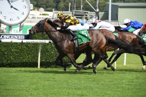 Probabeel, above, storms home to win the 2020 Surround Stakes at Randwick. Photo by Steve Hart.