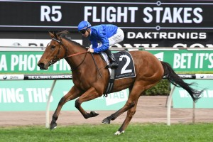 Alizee, above, scores a last to first win in the Flight Stakes at Randwick. Photo by Steve Hart.