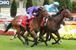 Fascino, in aqua colours, and La Falaise, in blue and red, dead heat in the Fillies Classic at The Valley.